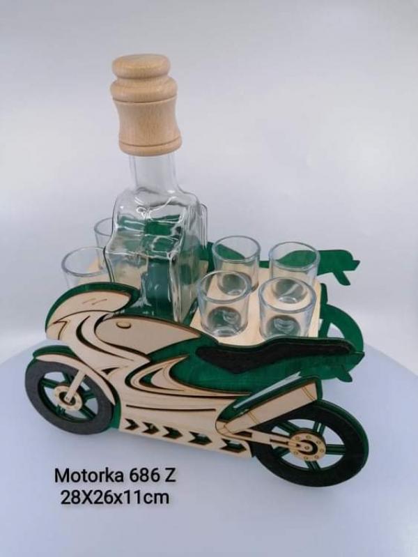 Dekoračná fľaša s pohárikmi, MOTORKA, zelená,  28x26x11 cm