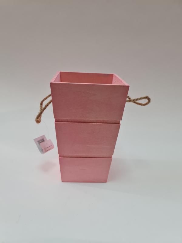 Drevená dekoračná nádoba, ružová