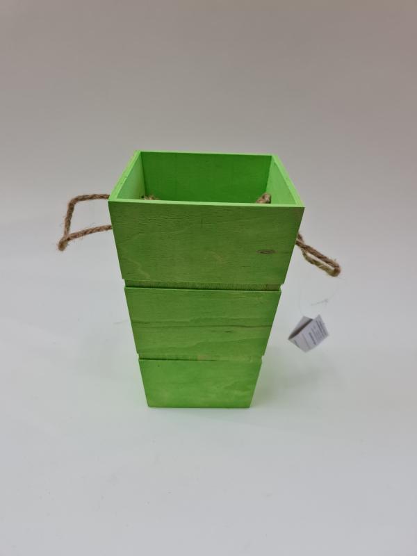 Drevená dekoračná nádoba, zelená