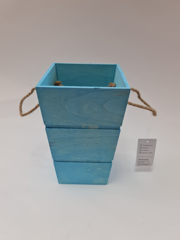 Drevená dekoračná nádoba, modrá