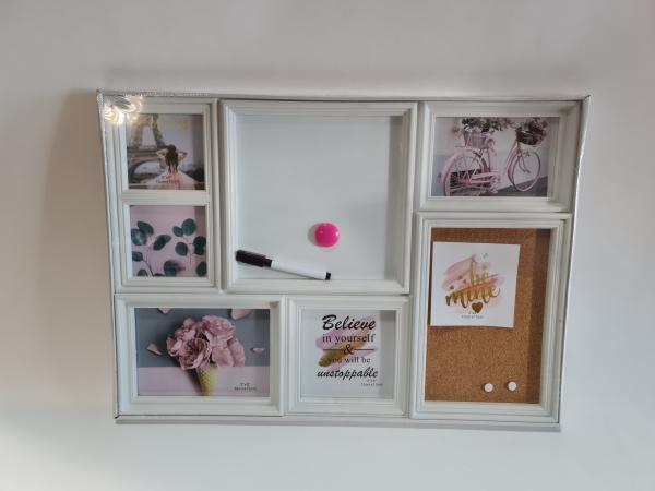 Fotorámček s tabuľou, plastový, biely, 53x38x2 cm