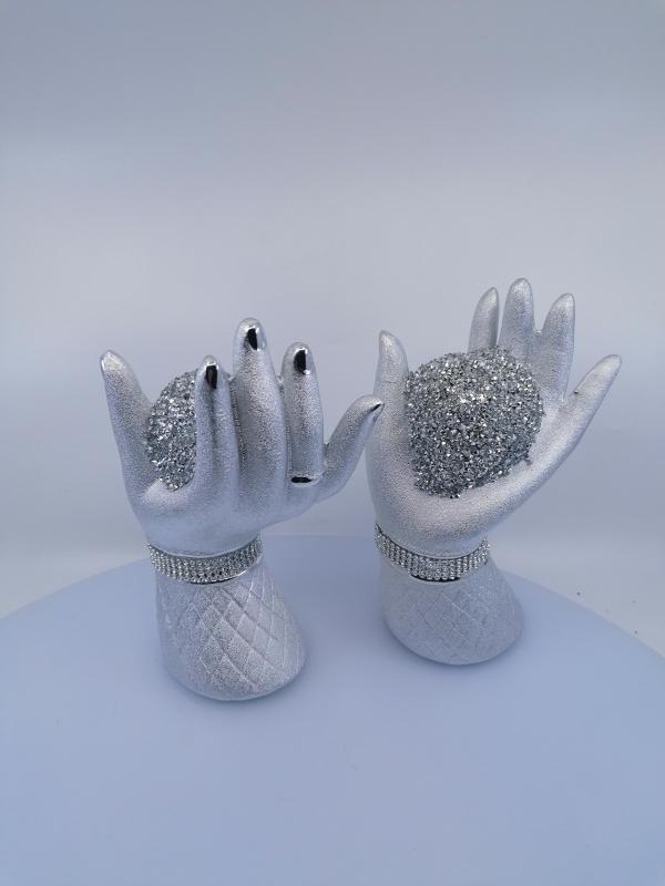 Strieborný dekoračný pár rúk