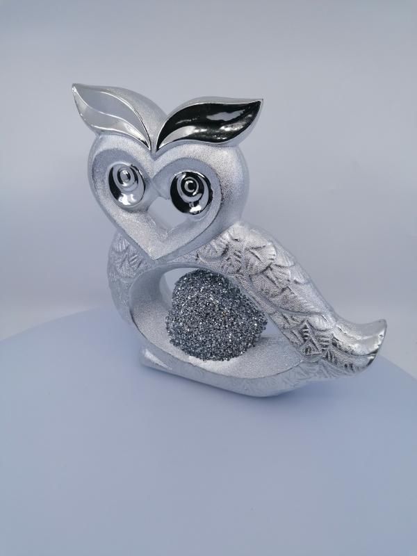 Strieborná dekoračná sova