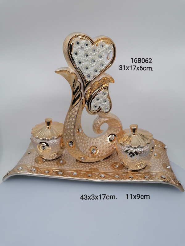 Zlatá dekorácia s jablčkami 062