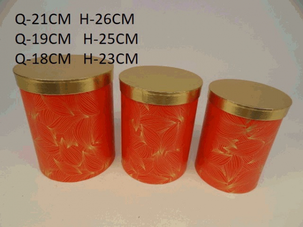Sada flowerboxov, červeno - zlaté, 3 ks v balení