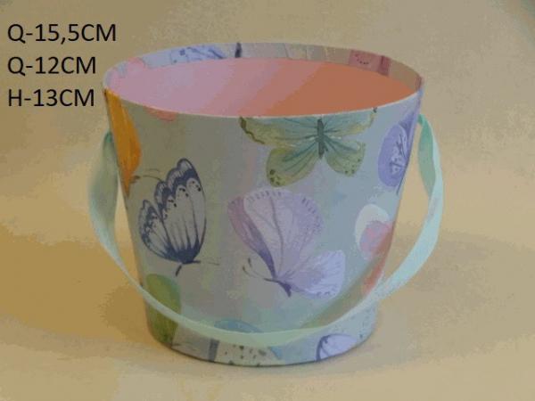 Flowerbox, farebný, motýle, 16x12x13 cm