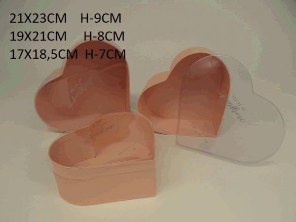 Sada flowerboxov, ružové, srdce, 3 ks v balení