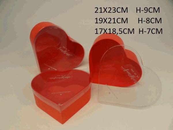Sada flowerboxov, červené, srdce, 3 ks v balení