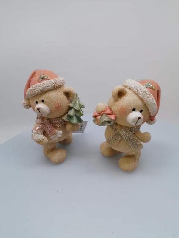 Vianočná ozdoba, medvedík so zvončekom alebo stromčekom, 2 typy, 16 cm
