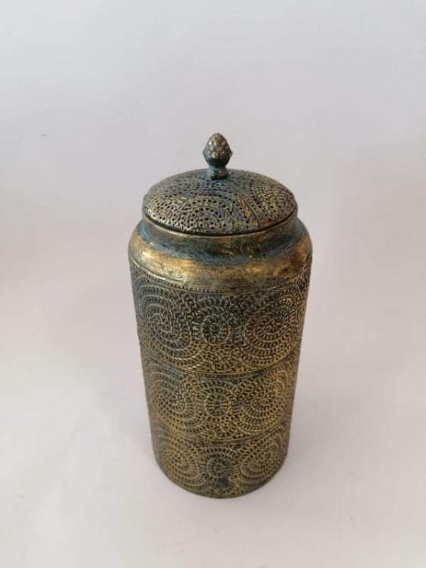 Dekoračná nádoba s poklopom, bronzová farba, 33x15 cm