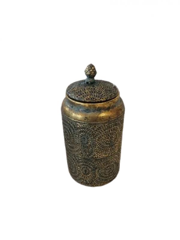 Dekoračná nádoba s poklopom, bronzová farba, 25x12 cm
