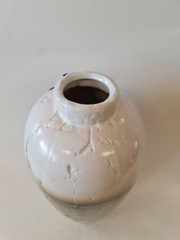Váza MIDAXI, bielo-hnedá, 21x42 cm