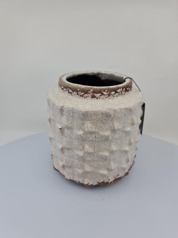 Nádoba KUBUKI, svetlá krémová, 14,5x14,5x15,5 cm