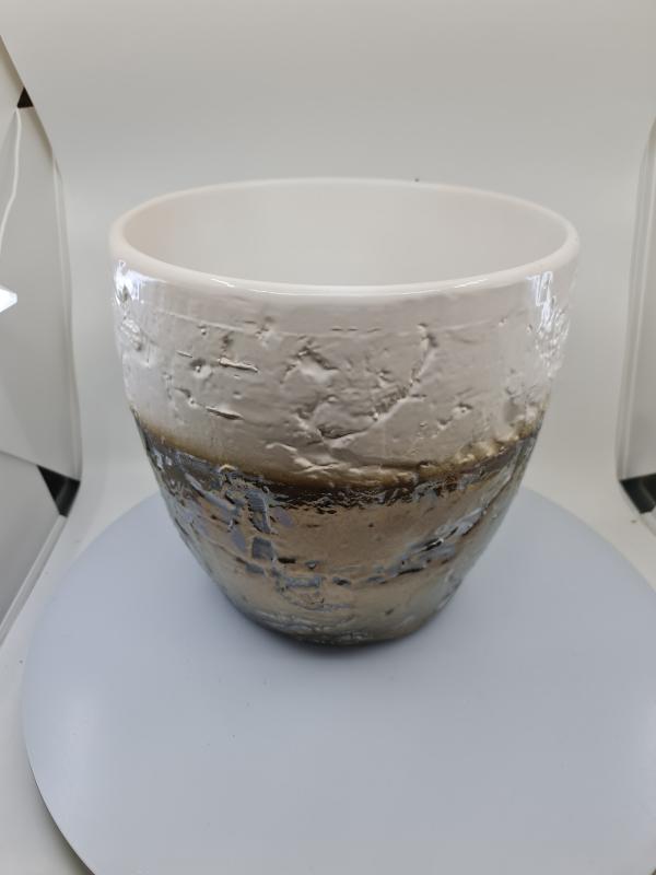 Nádoba MIDAXI, bielo-hnedá, 30x28,5 cm