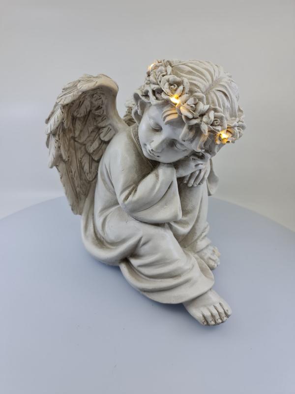 Dekoračný svietiaci anjel spiaci, sivý, 23x27x20 cm
