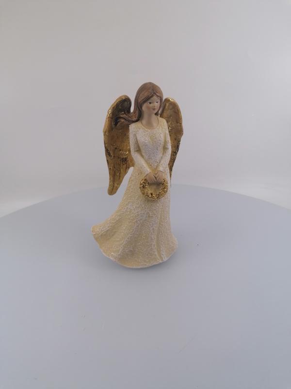 Anjel s vianočným vencom  16cm