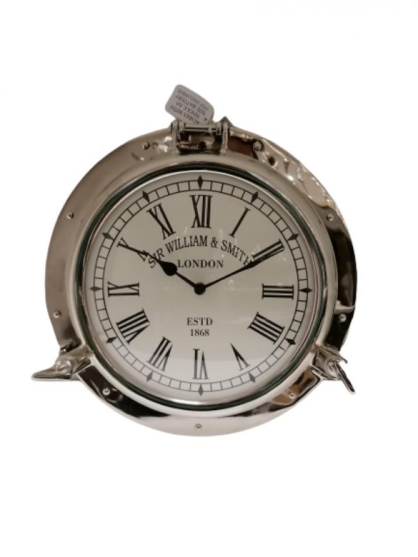 Nástenné strieborné hodiny 38x5cm