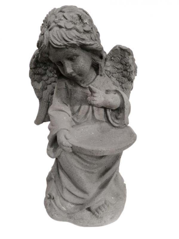 Socha anjela, sivá, 60 cm
