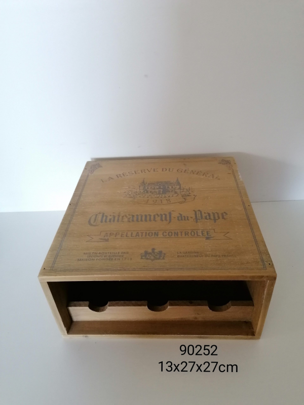 Drevená krabica na vino 13x27x27 cm