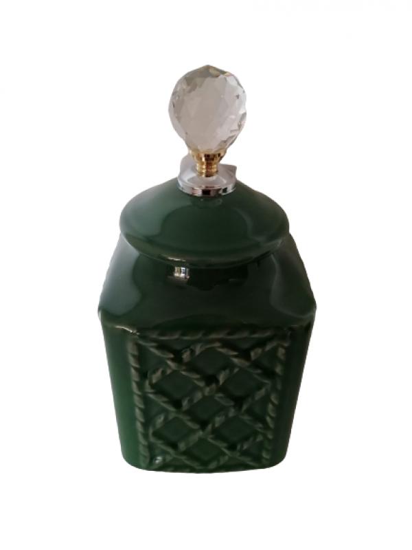 Keramická dóza s krištáľom, zelená, 28x12x12 cm