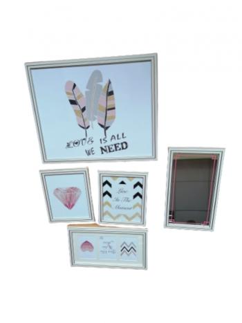 Fotogaléria set 4 rámčekov a zrkadla