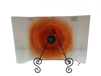 Sklenená dekorovaná tácka, oranžová, 26x40 cm