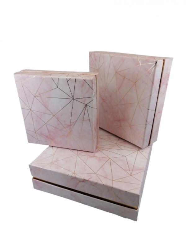 Flower box 3set ružový 1- 23,5x23,5cm H 7cm / 2- 19,5x19,5cm H 6cm / 3- 17x17cm H 5cm