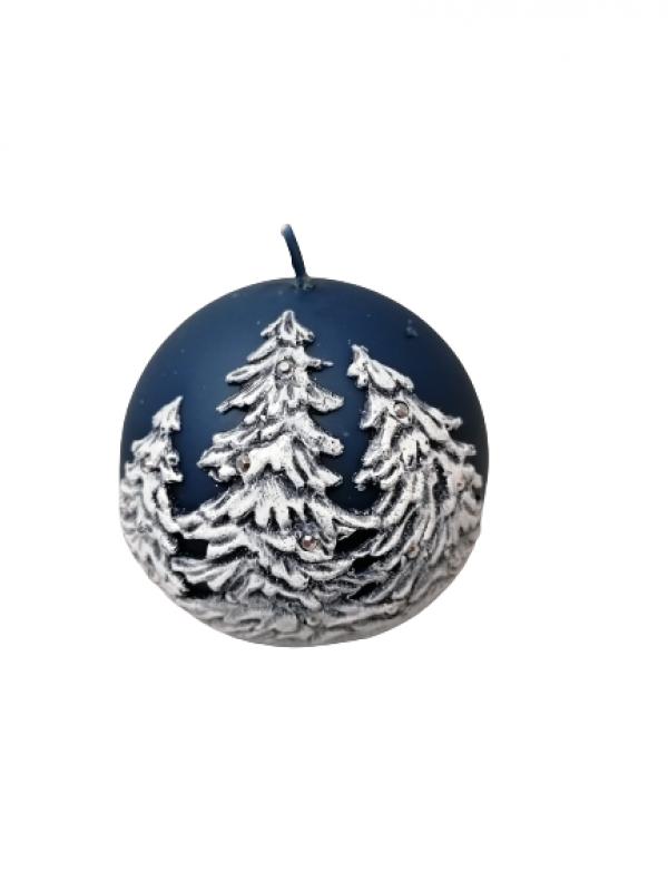 Dekoračná  sviečka vianočná modrá  10cm