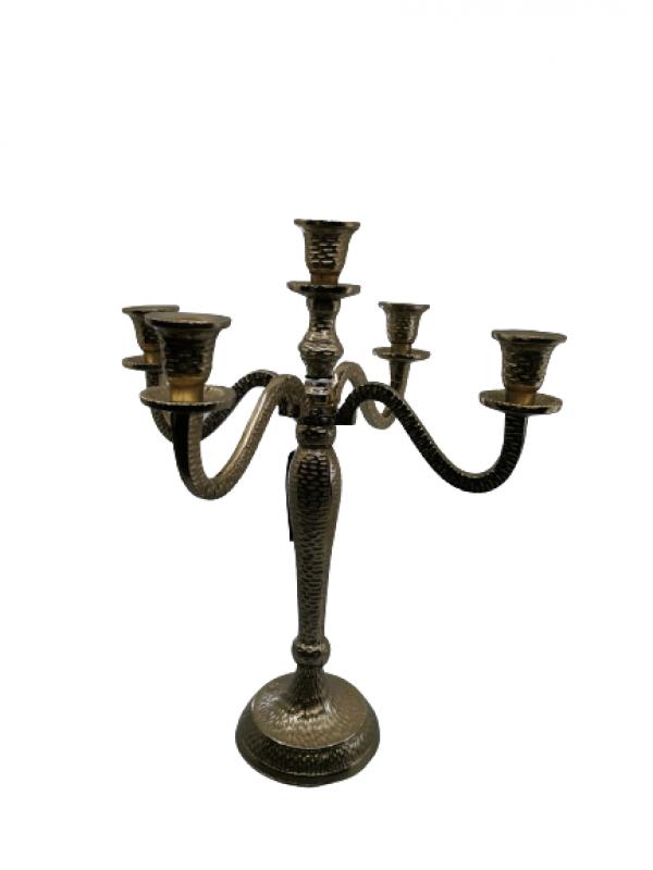 Vysoký svietnik kovový, zlatý 5 - ramenný na konické sviečky, 40 cm