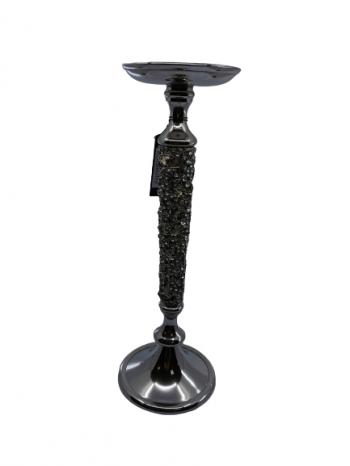 Svietnik z kovu s kamienkami strieborný, 36 cm