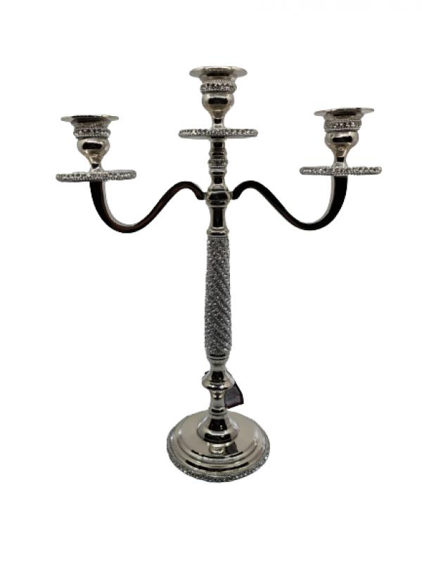 Vysoký svietnik kovový strieborný s kamienkami 3- ramenný na konické sviečky, 40 cm