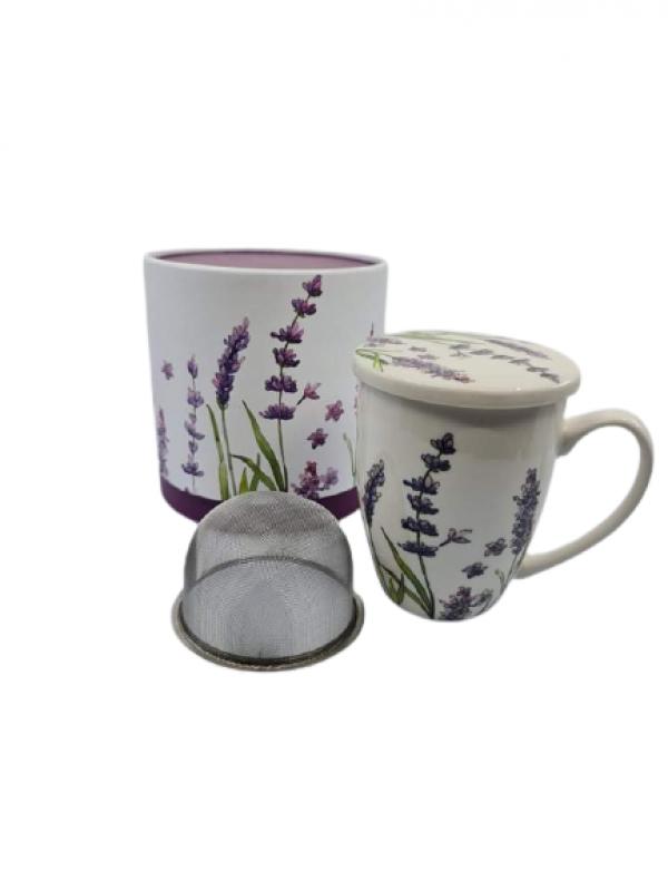 Hrnček na čaj s levanduľovým motívom, 380ml