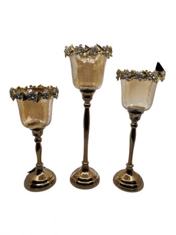 Svietnik zo skla s kovovou nôžkouzlatý ,rozmery:veľký: 39 cm, stredný: 34cm, malý: 28 cm