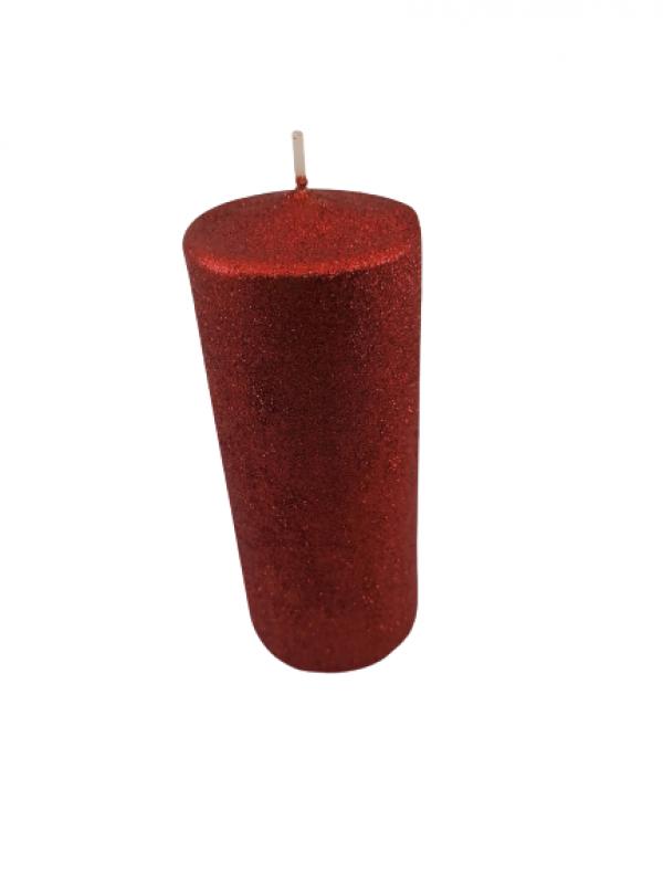 Dekoračná sviečka, červená, 17x7 cm