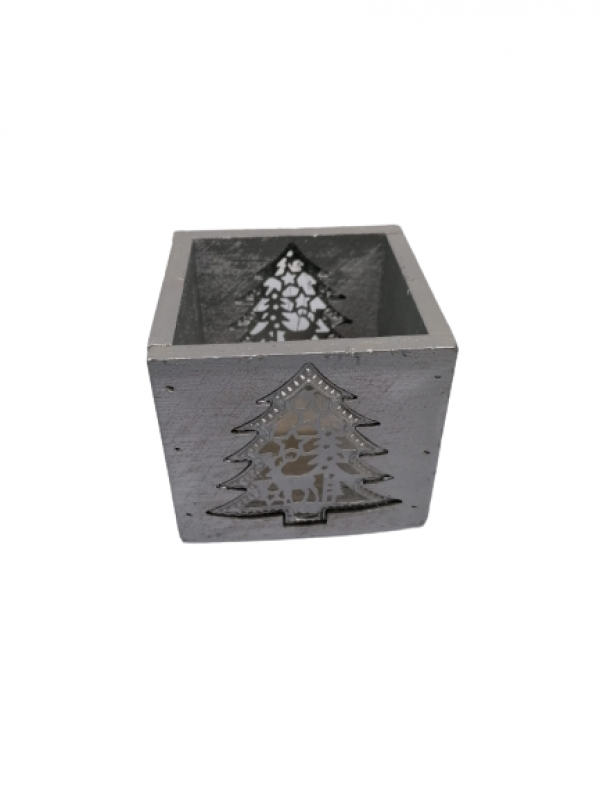 Svietnik z dreva striebornýštvorcový,8x9x9 cm