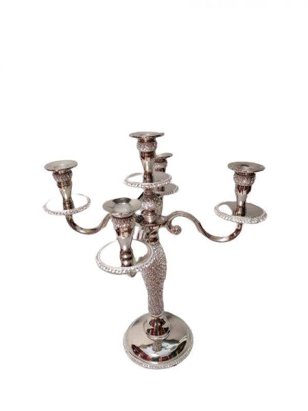 Vysoký svietnikstrieborný s kamienkami 5- ramenný na konické sviečky , 40x36 cm
