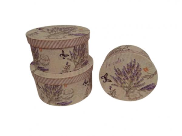 Flowerbox 3set levanduľa 1- Q22cm H11,5cm / 2- Q20cm H10cm / 3- Q18cm H9cm