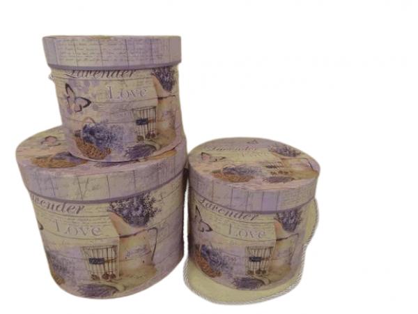 Flowerbox 3set levanduľa 1- Q23cm H20cm / 2- Q20cm H16,5cm / 3- Q16,5cm H14cm