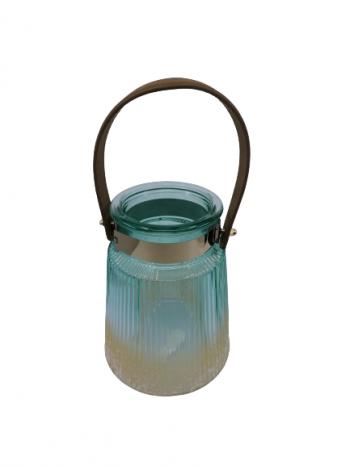 Sklenený svietnik modro zlatý,18x13cm, otvor: 8 cm