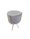 Svietnik keramický bielo zlatý s kovovými zlatými nôžkami na sviečku,16x10cm, výplň: 6x9 cm