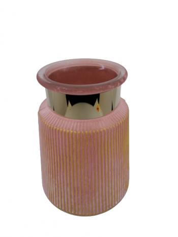 Sklenený svietnik ružový,  22x17 cm, otvor: 10 cm