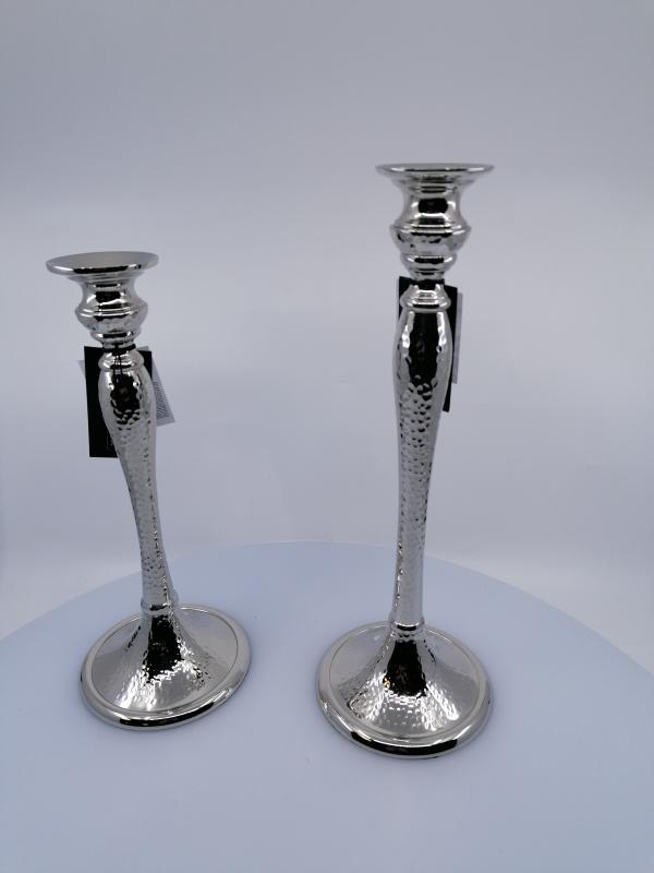 Svietnik z kovu strieborný na konickú sviečku, 31x11 cm