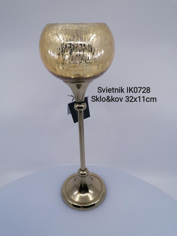 Kovový svietnik so sklom zlatý 32x11 cm