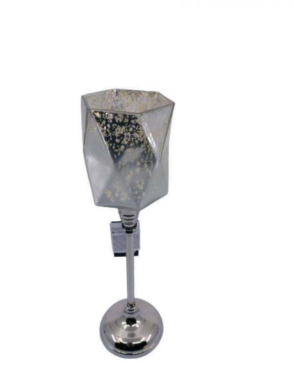 Svietnik z kovu so strieborno zlatým sklom , 36x9 cm, sklo: 10x9 cm