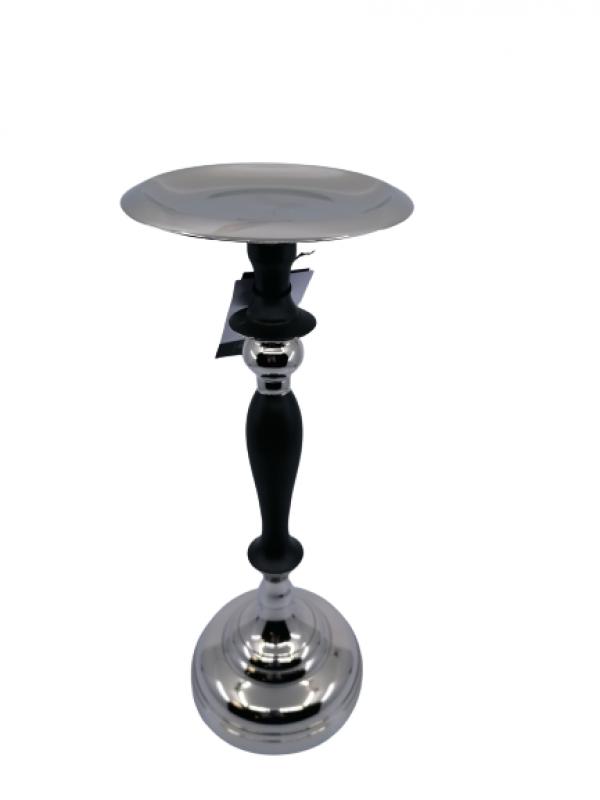 Svietnik z kovu strieborno čierny 31x12 cm