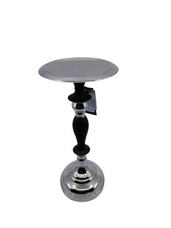 Svietnik z kovu strieborno čierny 26x12cm