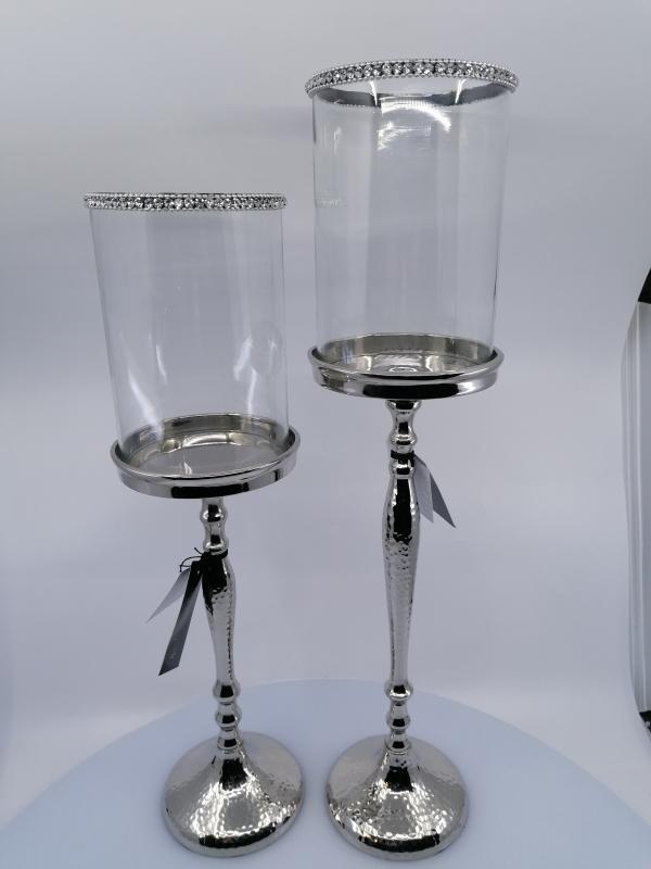 Svietnik z kovu, so sklom a s kryštálmi strieborný, 47x22cm sklo : 11x15 cm