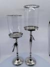 Svietnik z kovu so sklom a kryštálikmi strieborný, 42x11cm, sklo:15x11 cm