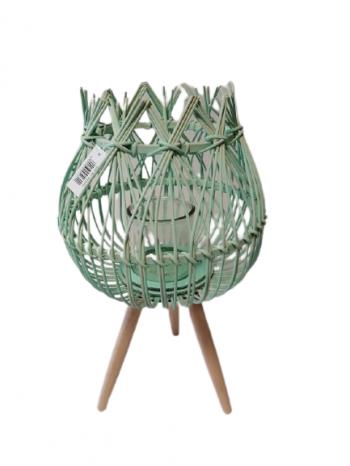 Svietnik ratanovy zelený 50x28 cm , vnútorne sklo 10x10 cm