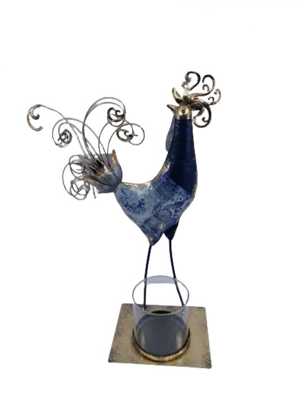 Svietnik z kovu kohút modro zlatý so skleneným vkladom na sviečku  16x25x9cm, sklo: 8x8 cm